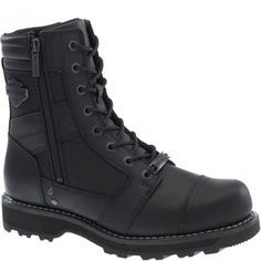 The Harley-Davidson Footwear Boxbury boot features waterproof leather with a heavy dose of moto inspiration. Mens Motorcycle Riding Boots, Leather Riding Boots, Combat Boots, Motorcycle Gear, Biker Gear, Botas Harley Davidson, Composite Toe Boots, Harley Davidson Merchandise, Safety Work Boots