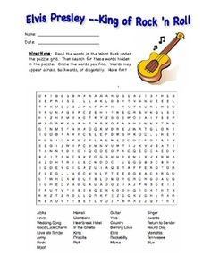 Elvis Presley's Birthday January 8: Word Search Puzzle Packet
