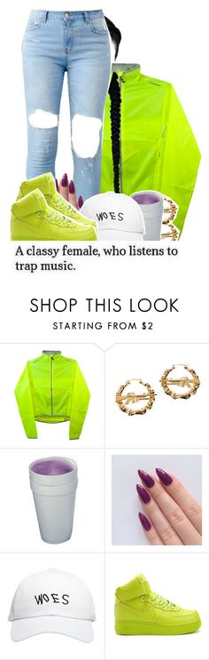 """NananiNanana"" by x-gladys-x ❤ liked on Polyvore featuring Melody Ehsani, October's Very Own and NIKE"