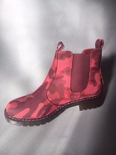 Women's Red Camouflage Chelsea Boots Size UK 3-8  | eBay Gold Block Heels, Lady In Red, Camouflage, Chelsea Boots, Ankle Boots, Ebay, Shoes, Fashion, Madame Red