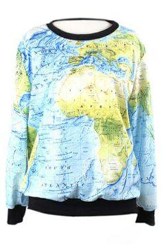 ROMWE | ROMWE Map Print Contrast Trimming Sweatshirt, The Latest Street Fashion