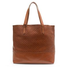 """i NEED this perforated leather tote in caramel brown which is 25% off right now at J. Crew with code """"NOWANDLATER"""""""