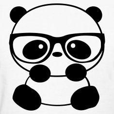 cartoon panda with glasses: