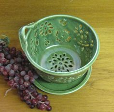 Berry Bowl Colander with coaster dish handcarved by GlyntPottery