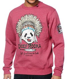 The LRG Chief Rocka red crew neck sweatshirt is a comfortable fleece with a look to help you stand out. Instantly elevate your style with the Chief Rocka panda headdress graphic at the chest with a tribal print LRG graphic on the left sleeve of the heathe