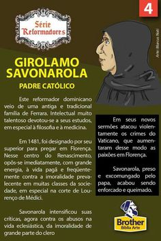 Girolamo Savonarola Reformed Theology, Reformation, Bible Verses, Faith, God, History, Religious Studies, Bible Study Tips, Religious Quotes