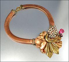 Vintage Necklace Rhinestone Brass Copper Glass by boylerpf on Etsy
