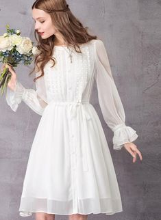 Vintage White Chiffon Dress  #skirts #dress #accessories #clothes #WomenApparel #apparel #clothing #scarves #shopping #sweaters