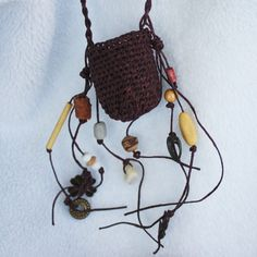 Basket Necklace Pouch - Twined Waxed Linen - Earthy Wishes.