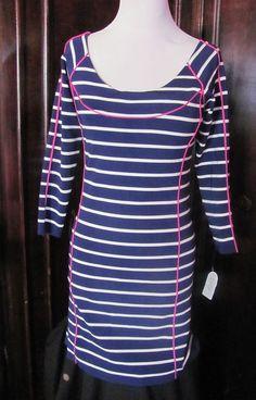 Jessica Simpson Blue White Pink Striped Long Sleeve Dress Medium NEW #JessicaSimpson #StretchBodycon #Casual
