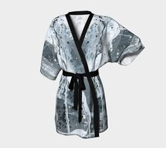 silky kimono, printed kimono, wearable art, transparent chiffon, black and white, belted kimono, robe, cardigan, boho, gifts for her, jacket #etsy