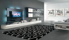 Innovative Alf Da Fre Modern Living Room Features Futuristic Dark Glass Black Tv Wall Unit with Glossy White Low Console and Mirrored Front ...