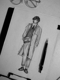 Kpop Drawings, Art Drawings Sketches Simple, Pencil Art Drawings, Applis Photo, Kpop Fanart, Art Sketchbook, Taehyung, Painting, Ideas