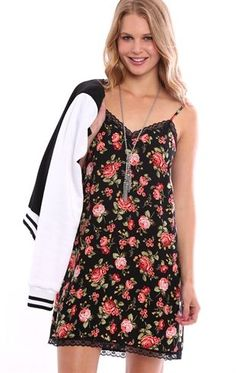 Deb Shops Rose Print Slip Dress with Lace Trim $20.25
