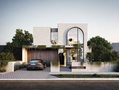 Facade Design, Exterior Design, Santorini House, House Design Pictures, Brick Arch, Modern Villa Design, Latest House Designs, Street House, Architect House