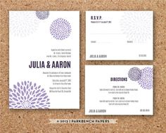 Purple Wedding Invitation RSVP and Insert Card by ParkbenchPaperie, $16.00