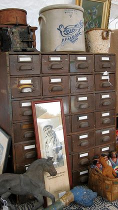Brimfield drawers  Brimfield Antiques Market  September 2011