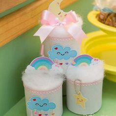 Ideas creativas para reciclar latas - Manualidades Unicorn Themed Birthday, Rainbow Birthday Party, Birthday Treats, Baby Birthday, 1st Birthday Parties, Baby Shower Cakes, Rain Baby Showers, Cloud Party, Recycle Cans