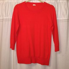 J.Crew Sweater Size Small. J.Crew sweater 3/4 sleeves. Tiny hole in shoulder other than that great condition! Never worn. J. Crew Sweaters Crew & Scoop Necks