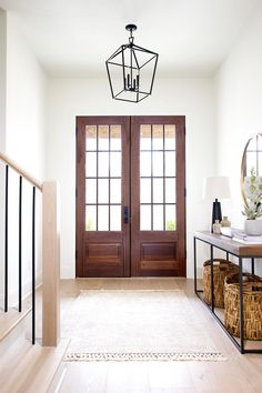 How to Match Solid Stair Treads to Prefinished Hardwood Flooring - Plank and Pillow Front Door Entryway, Split Level Entryway, Split Entry, Front Entry, Front Porch, Entryway Light Fixtures, Entrance Lighting, Front Door Lighting, Prefinished Hardwood