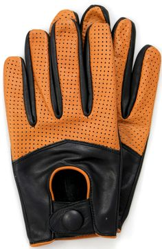 Riparo Half Mesh Leather Gloves Black/Cognac