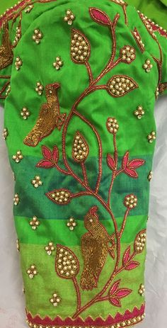 End to End Customization with Hand Embroidery & beautiful Zardosi Art by Expert & Experienced Artist That reflect in Blouse , Lehenga & Sarees Designer creativity that will sunshine You & your Party. Silk Saree Blouse Designs, Fancy Blouse Designs, Bridal Blouse Designs, Blouse Neck Designs, Sleeve Designs, Hand Work Design, Hand Work Blouse Design, Hand Embroidery Designs, Beaded Embroidery