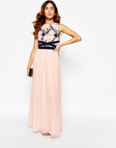 Little Mistress Maxi Dress With Lace Bodice