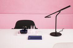 A pink office is fashionable and elegant all at once. Think pink, and let cool pink tones create a vivid and dynamic working space. Pink Office, Work Lamp, Office Environment, Pink Tone, Copenhagen, Table Lamp, Trends, Space, Cool Stuff