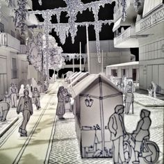 Paper cut-out model at Greek pavilion.