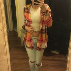 American Eagle Outfitters: Autumn Flannel Extra Small; Boyfriend Fit; Long Sleeved; Colours: Yellow, Orange, Plum, & Red American Eagle Outfitters Tops Button Down Shirts