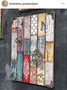 I love this wall piece! Wood panels put together and each one designed.,I love this wall piece! Wood panels put together and each one designed a different way but as a whole completely coherent! How To Make Wood Art ? Arte Pallet, Pallet Art, Art Diy, Diy Wall Art, Arte Assemblage, Decoupage Furniture, Diy Home Crafts, Wooden Crafts, One Design