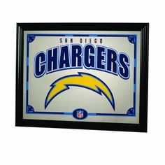 """NFL San Diego Chargers 22 Inch Printed Mirror (687746502632) Framed Mirror 18"""" tall by 13"""" wide. Boast team colors and logo."""