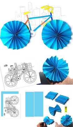 Bicycle making with folding techniques – Preschool Activity Kindergarten Crafts, Preschool Crafts, Animal Crafts For Kids, Diy For Kids, Bicycle Crafts, Duck Crafts, Classroom Art Projects, Art Drawings For Kids, Paper Crafts Origami