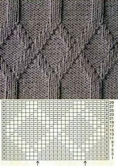 Простые узоры спицами Узоры из лицевых и изнаночных. Подборка схем Knitting Stiches, Cable Knitting, Knitting Charts, Knitting Patterns Free, Knit Patterns, Hand Knitting, Stitch Patterns, Knit Stitches, How To Purl Knit