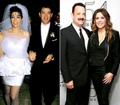 Rita Wilson and Tom Hanks  Wilson met her future husband on his TV show, Bosom Buddies, but they didn't begin dating until they costarred in the 1985 movie Volunteers. The pair tied the knot on Apr. 30, 1988 and later welcomed two sons, Chester (born August 1990) and Truman (born December 1995).