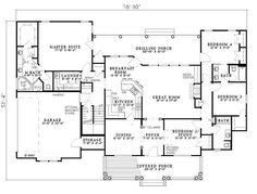 Southern Style House Plan - 4 Beds 3 Baths 2373 Sq/Ft Plan #17-2149 Main Floor Plan - Houseplans.com