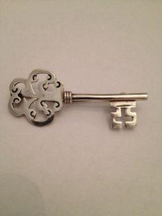 Sterling Silver Key Brooch
