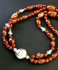Carnelian and Red Agate Two-Strand Necklace with Handcrafted Copper-Sterling Bead and Sterling