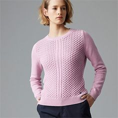 New Season Women's Fashion Clothing | Wild South - CASHMERE COTTON WAFFLE CREW