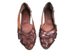 Vintage Brown Leather Woven Sandals