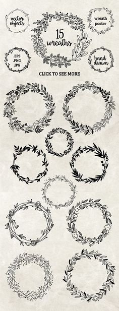 Perfect wreaths for doodling! Try these bullet journal and planner doodles today. Embroidery Designs, Creative Embroidery, Floral Embroidery Patterns, Simple Embroidery, Modern Embroidery, Flower Patterns, Drawing Hands, Wreath Drawing, Bullet Journal Inspiration