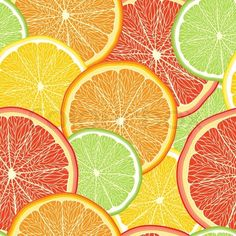Vector of 'Abstract color background with citrus-fruit of grapefruit, orange and lemon slices citrus pattern Vector Illustration'