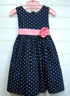 Vintage Baby Clothes, Baby Girl Dress In Navy Blue with White Polka Dots and Pink Accents. #