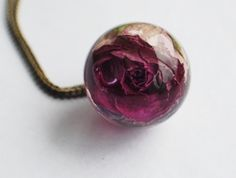 Real Rose Necklace Purple Pink Resin by NaturalPrettyThings, $46.00