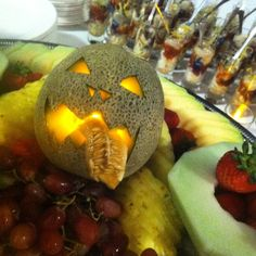 Mckinleyville Chamber of Commerce Halloween Mixer with cantaloupe jack-o-lantern and oyster shooters. www.bluelakecasino.com
