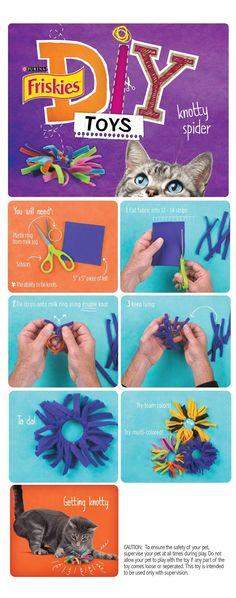 Kattenspeeltje elastiekje en reepjes of draadjes stof