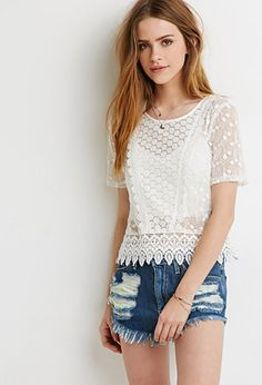Embroidered Crochet Trim Top | Forever 21 - 2049257375