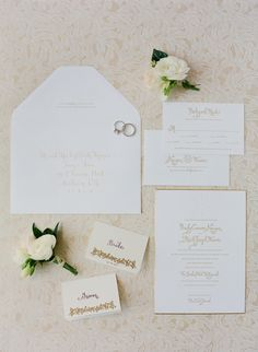 White and Gold Wedding. Traditional invites. Photography: Jose Villa Photography - josevillablog.com