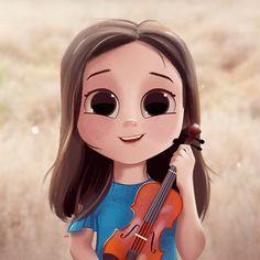 Violin, Portrait, Digital Painting, Illustration, Character Design, Female Character Design, Cute Character Design, Drawing, Girl