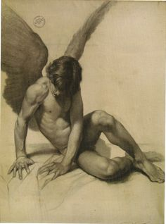 """""""Fallen Angel""""... such a beautiful drawing. Want it on my purity board, but there I only use colourful pictures. Vampires and angels... night and day. Hope you don't mind, but this angel will stay."""